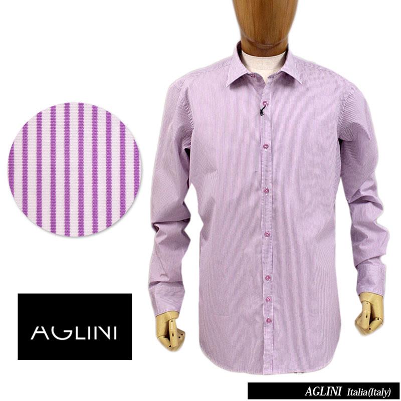 【送料無料】 AGLINI アリーニ メンズ シャツ ストライプ ワイシャツ ドレスシャツ カジュアルシャツ ワイドカラー コットン 綿 パープル SIZE:39/40/41/42 (aglini-5980208) 【smtb-k】【kb】
