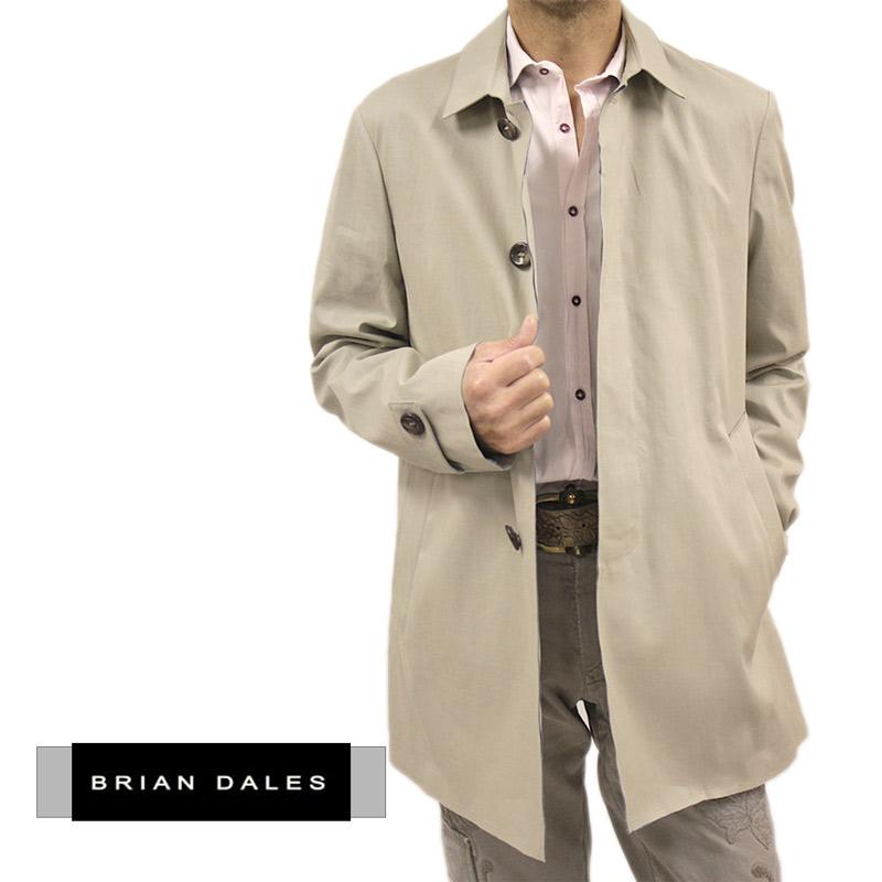 【送料無料】 BRIAN DALES ブライアンダレス ブライアンデールズ メンズ コート コート 綿 ベージュ 比翼 ハーフ丈 サイズ:48/50/52 (briand-4680203) 【smtb-k】【kb】