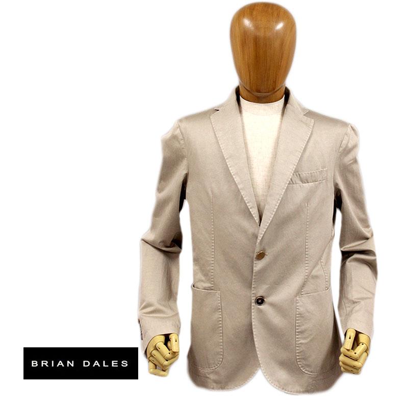 【送料無料】 BRIAN DALES ブライアンデールズ ブライアンダレス メンズ ジャケット テーラード コットン 綿 2つボタン ベージュ SIZE:48/50/52 (briandales-c4680205) 【smtb-k】【kb】