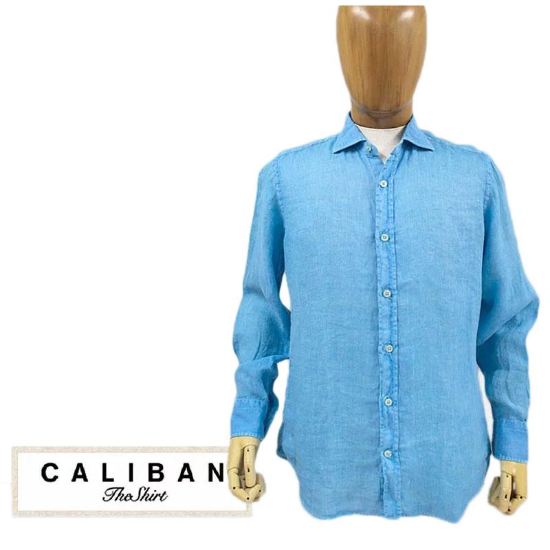 【送料無料】 CALIBAN カリバン メンズ シャツ ホリゾンタルカラー ワイドカラー リネン 麻 ブルー SIZE:39 (caliban-5080201) 【smtb-k】【kb】
