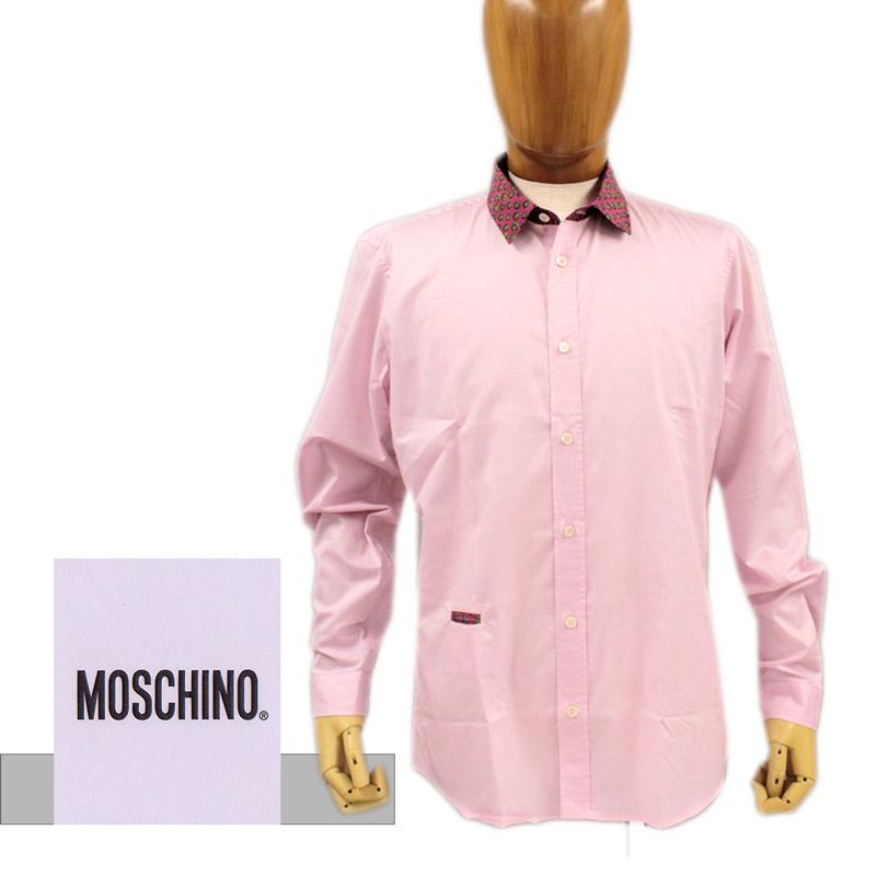 【送料無料】MOSCHINO モスキーノ メンズ シャツ ドレスシャツ クレリック コットン 綿 ピンク SIZE:39 (mos_280202u)