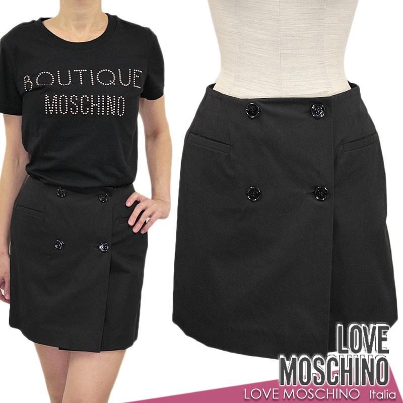 【送料無料】LOVE MOSCHINO ラブ モスキーノ スカート ミニスカート ラップスカート 巻きスカート コットン 綿 ブラック 黒 SIZE:40(7~9号) (mos_291203c)