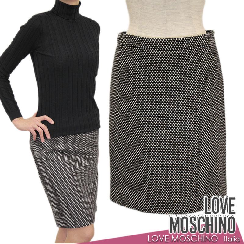 【送料無料】LOVE MOSCHINO ラブ モスキーノ スカート タイトスカート ドット 水玉 ブラック(黒)×ホワイト(白) SIZE:38(7~9号) (mos_291206c)