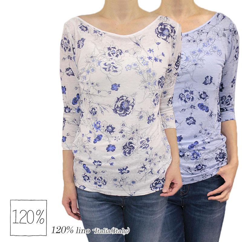 【送料無料】 120% 120%lino 120%リノ Tシャツ フラワープリント ボートネック リネン 麻 七分そで ホワイト(白)/ブルー サイズ:S/M (120lino_010213) 【smtb-k】【kb】