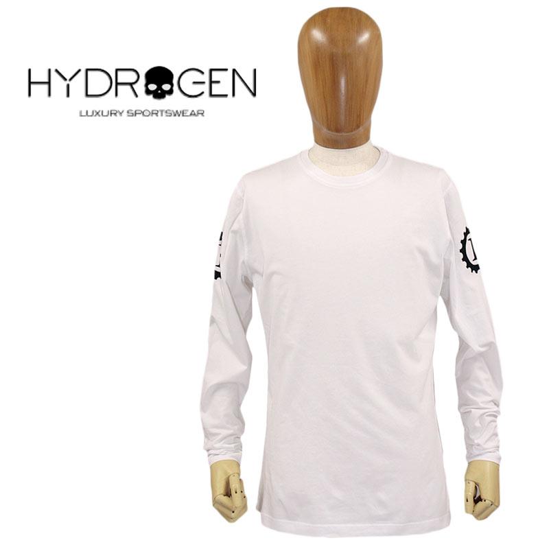 【30%オフセール!】HYDROGEN ハイドロゲン Tシャツ 長そで コットン 綿 メンズ 国内正規店(正規品)ホワイト 白 GARAGE ITALIA CUSTOMS T-SHIRT SIZE:XS/M/L (hydrogen_111201)
