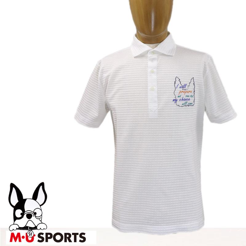【30%オフセール!】 MU SPORTS エムユー スポーツ メンズ ポロシャツ ホワイト 白 サイズ:50(L)/52(LL) 【2019春夏新作】 (mu_m19ss04)