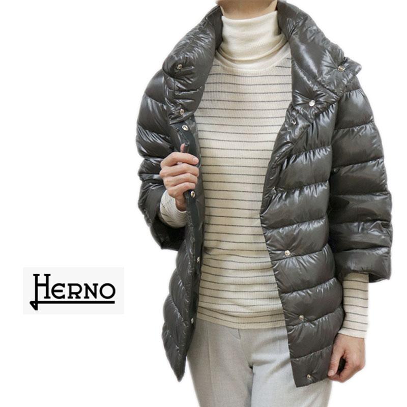 HERNO WOMAN ヘルノ ICONICO イコニコ ダウンコート ブルゾン 七分そで グレー SIZE 40 送料無料 herno-7021201 一番売れた*** ギフトラッピング 節分 快気祝 ホワイトデー