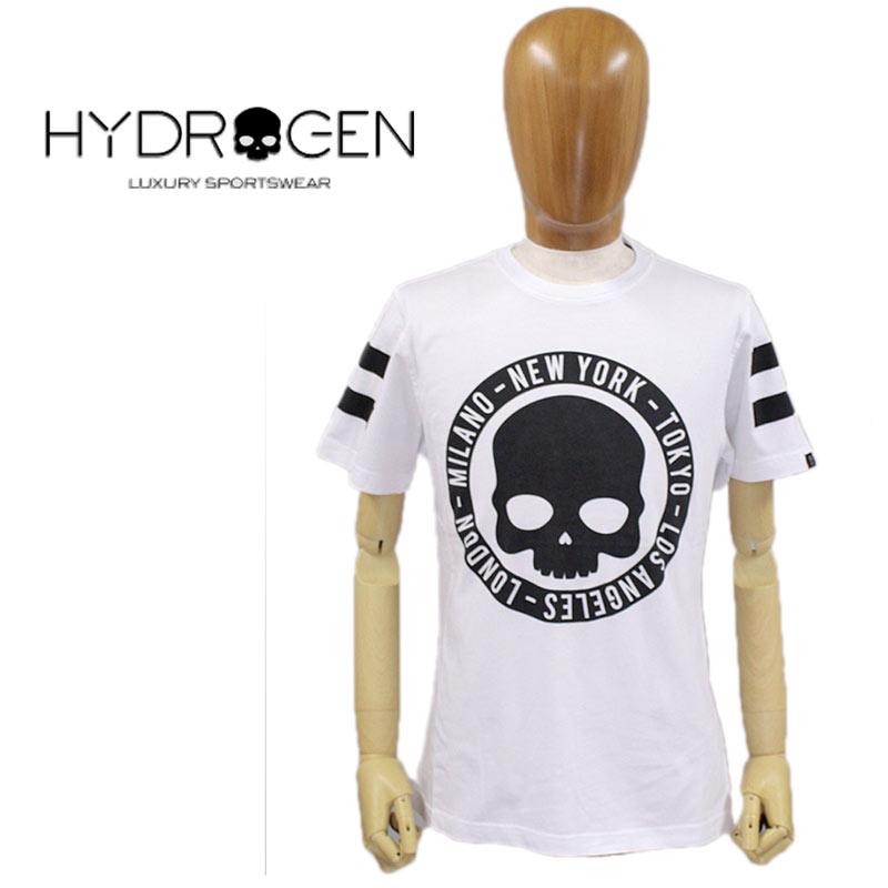 【送料無料】【30%オフセール!】 HYDROGEN ハイドロゲン Tシャツ 半そで スカル コットン 綿 メンズ CIRCLE CITIES TEE T-SHIRT 国内正規店(正規品)ホワイト 白 SIZE:S/M (hydrogen_120102)
