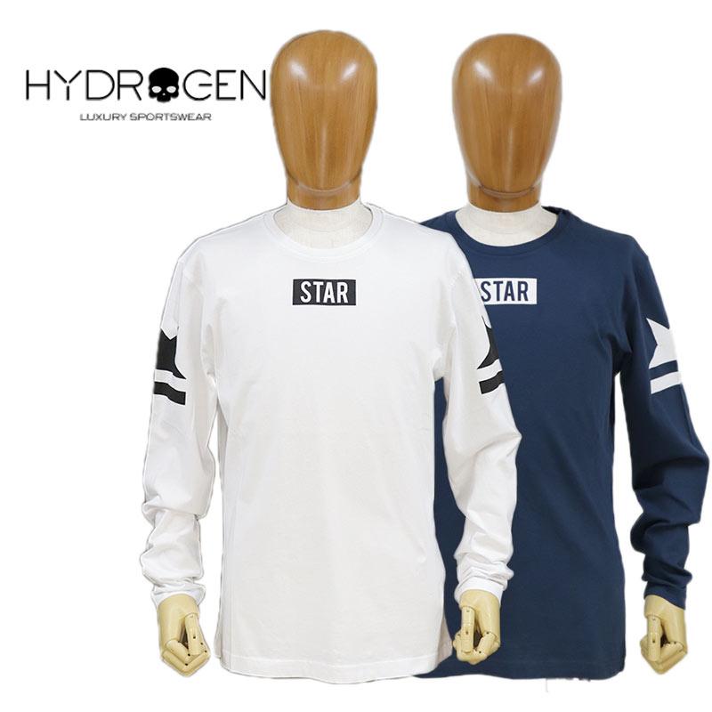 【送料無料】【20%オフセール!】HYDROGEN ハイドロゲン Tシャツ ロンT 長そで スカル コットン 綿 メンズ STAR TEE 国内正規店(正規品)ホワイト(白)/ネイビー(紺) SIZE:S/M (hydrogen_121122)