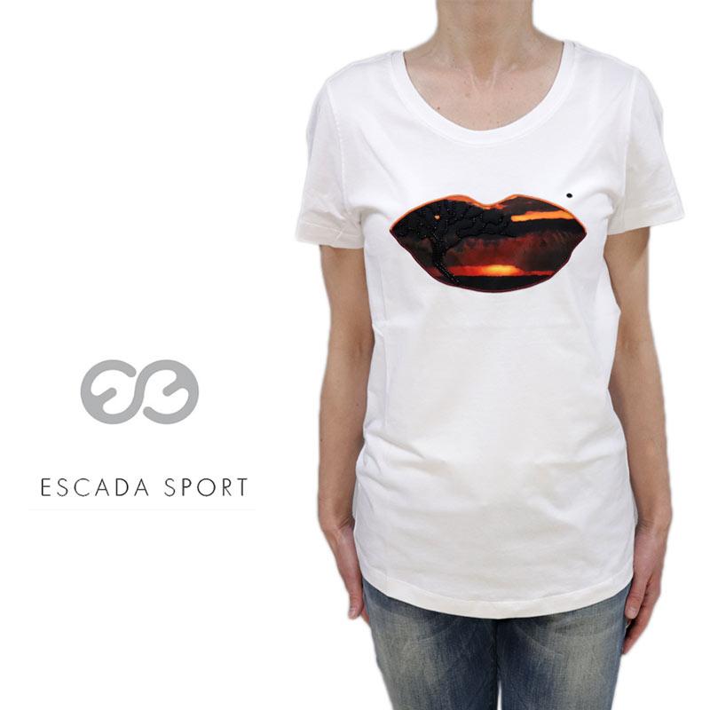 【送料無料】【2020春夏新着】ESCADA SPORT エスカーダ スポート Tシャツ コットン 綿 クルーネック プルオーバー 半そで ホワイト(白) SIZE:S/XL (escada-3730201)