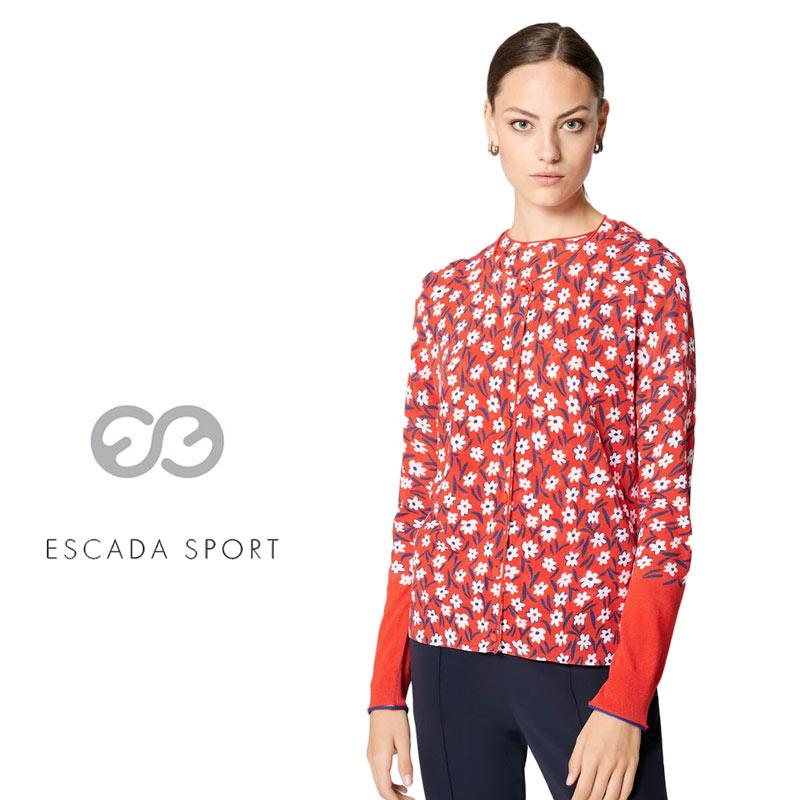 【送料無料】【2020春夏新着】ESCADA SPORT エスカーダ スポート カーディガン ニット ヒナギク デイジー クルーネック 長そで レッド(赤) SIZE:L (escada-3730211)
