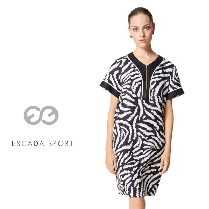 【送料無料】【2020春夏新着】ESCADA SPORT エスカーダ スポート ワンピース ゼブラ 半そで ブラック(黒) SIZE:40 (escada-3730213)