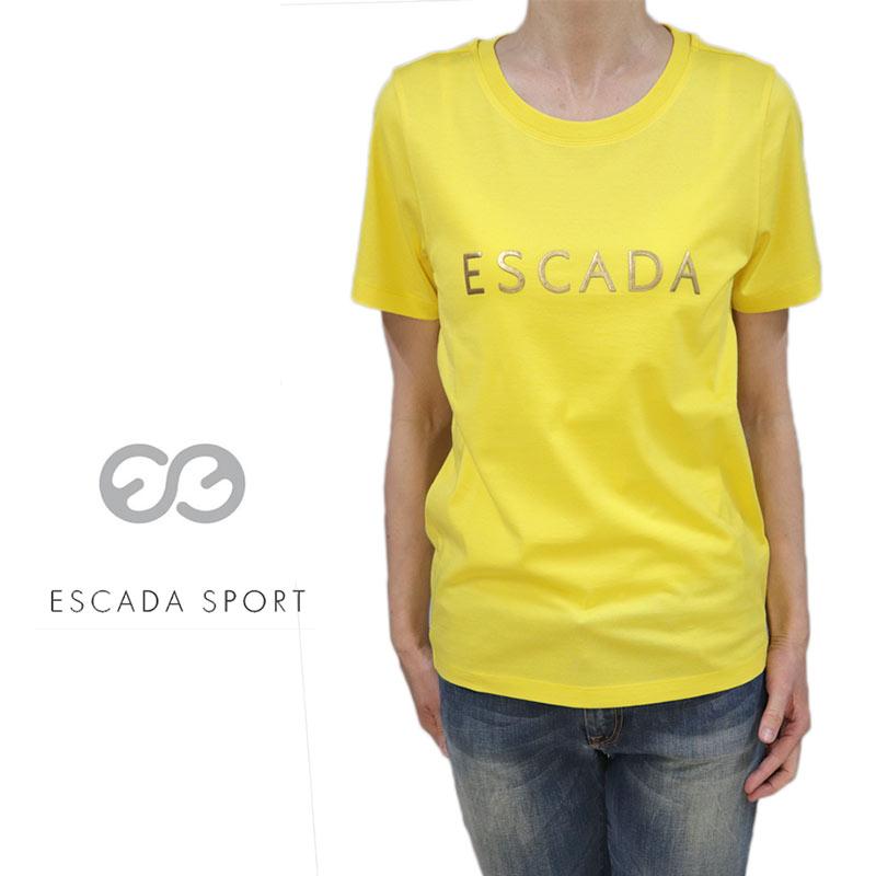 【送料無料】【2020春夏新着】ESCADA SPORT エスカーダ スポート Tシャツ コットン 綿 クルーネック プルオーバー 半そで イエロー(黄) SIZE:XS/L (escada-3730202)