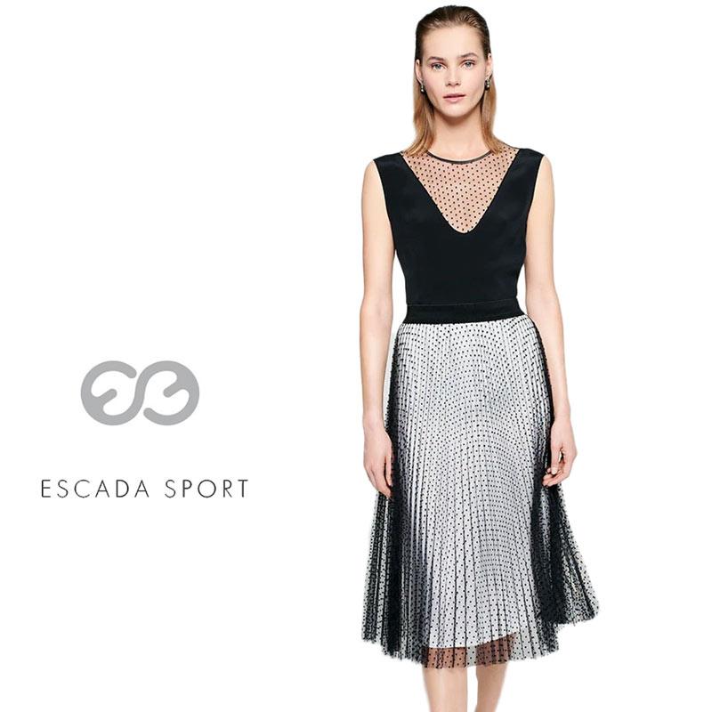 【送料無料】【2020春夏新着】ESCADA SPORT エスカーダ スポート スカート プリーツ チュール ドット 水玉 ウエストゴム ブラック(黒) SIZE:36 (escada-3730206)