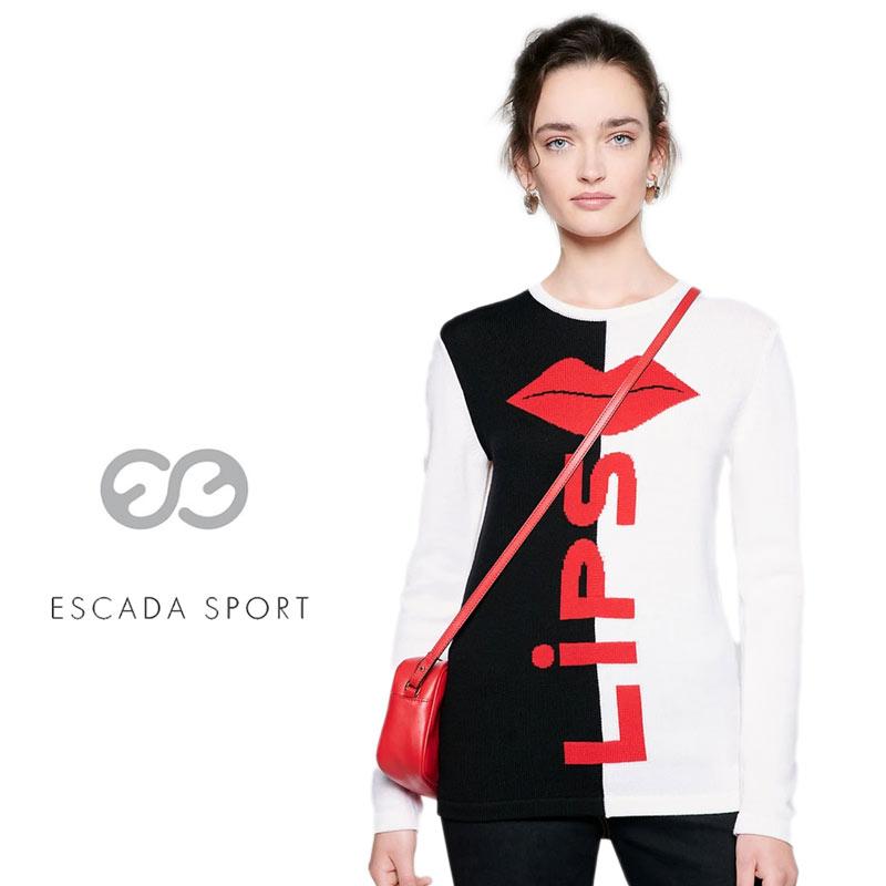 【送料無料】【2020春夏新着】ESCADA SPORT エスカーダ スポート ニット セーター 唇 ウール クルーネック 長そで ホワイト(白) SIZE:L (escada-3730208)