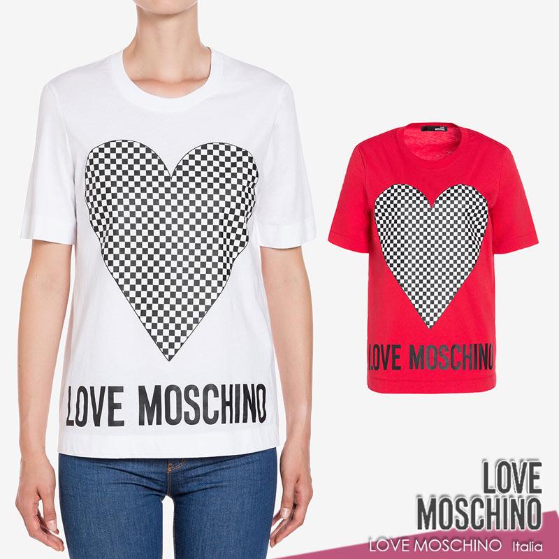 【送料無料】【2020春夏新作】 LOVE MOSCHINO ラブ モスキーノ Tシャツ ハート チェック コットン 綿 半そで ホワイト(白)/レッド(赤) SIZE:38(7号)/40(7~9号) (mos_230202)