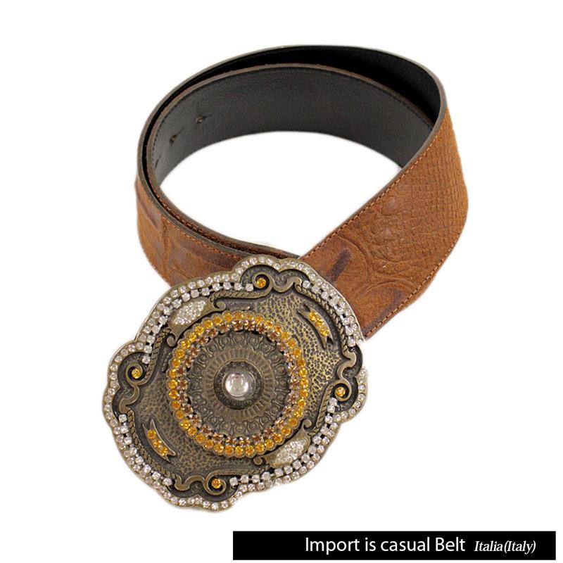 【送料無料】 IMPORT CASUAL BELT ベルト レザー ラインストーン トップ式バックル ブラウン (belt-5780203) 【smtb-k】【kb】
