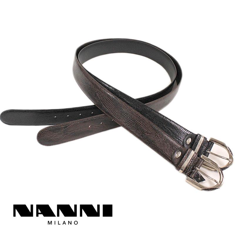 【送料無料】 NANNI ナンニ ベルト レザー 型押し ブラウン(茶)/ブラック(黒) (nanni-2980201) 【smtb-k】【kb】