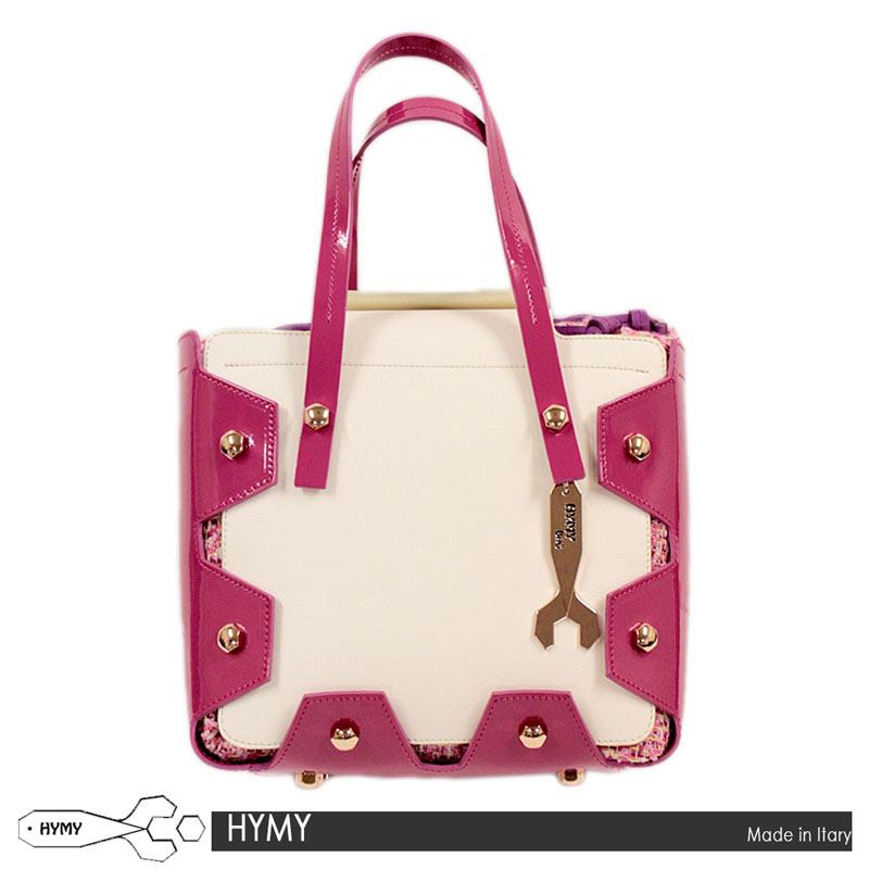 【送料無料】 HYMY バッグ ハンドバッグ ショルダーバッグ トートバッグ BAG エナメル レザー ピンク オフホワイト イタリア製 MADE IN ITALY (hymy-6381206z)