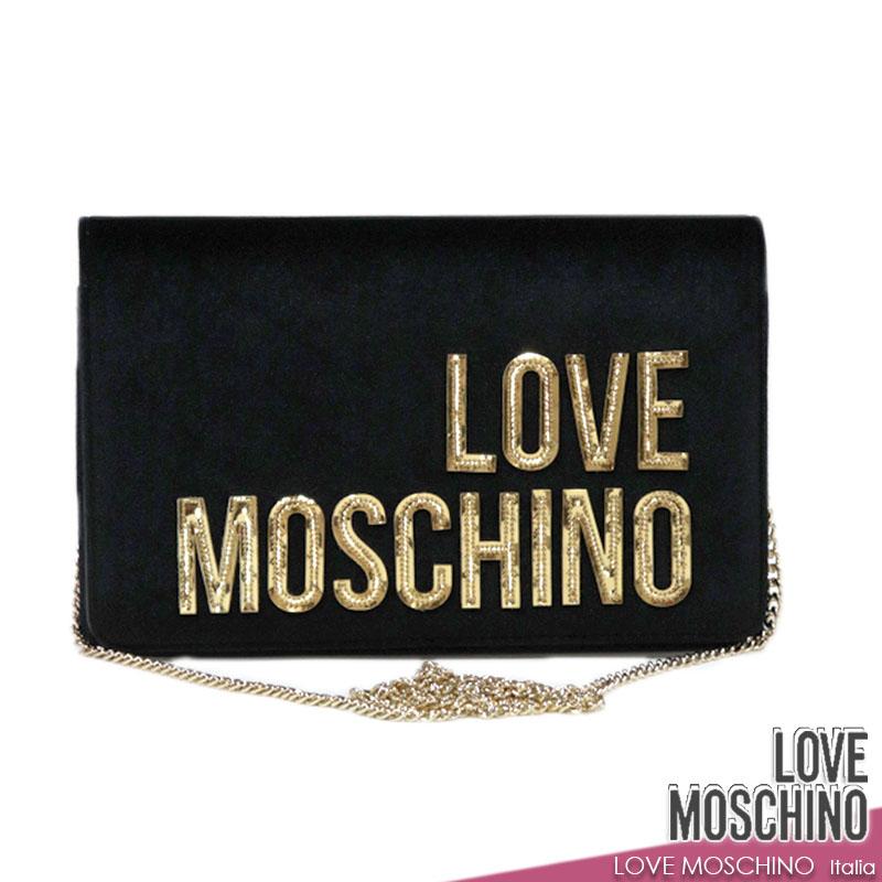 【送料無料】 【30%オフセール!】ラブモスキーノ LOVE MOSCHINO バッグ BAG クラッチバッグ チェーンバッグ ショルダーバッグ ポシェット ブラック(黒) ベロア調 (mos_221201z)