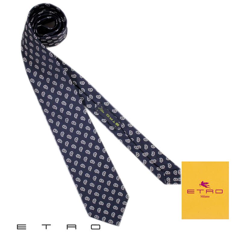 【送料無料】 ETRO エトロ メンズ ネクタイ タイ シルク ネイビー ペイズリー Necktie プレゼント ギフト MADE IN ITALY (tie-ez4090219) 【smtb-k】【kb】