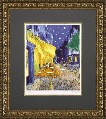 「夜のカフェテラス」ゴッホ(世界の名画・ゴッホ・ジグレー版画(夜のカフェテラス)[絵画通販])【絵のある暮らし】【壁掛けフックつき】