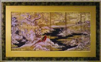 【代引不可】【お届け日時間指定不可】「赤い鳥と山水」【通信販売】(和風モダンアートポスター・インテリアフレーム[絵画通販])【絵のある暮らし】【壁掛けフックつき】