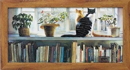 【代引き不可・お時間指定不可】ランキング1位獲得作品「ブックエンド」スティーブ ハンクス  特殊ゲル加工アート可愛い猫 可愛いネコ[絵画通販])ねこ 猫 ネコ 絵 絵画【壁掛けフック付き】【絵のある暮らし】