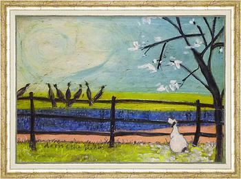 「ドリスと鳥たち」サムトフト 可愛い雰囲気の特殊ゲル加工アート・犬・イヌ・いぬ[絵画通販]【壁掛けフック付き】【絵のある暮らし】