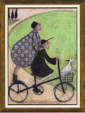 「二人乗り」サムトフト 可愛い雰囲気の特殊ゲル加工アート・犬・イヌ・いぬ[絵画通販]【壁掛けフック付き】【絵のある暮らし】