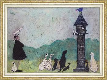 「スウィートオーディエンス」サムトフト 可愛い雰囲気の特殊ゲル加工アート・犬・イヌ・いぬ[絵画通販]【壁掛けフック付き】【絵のある暮らし】