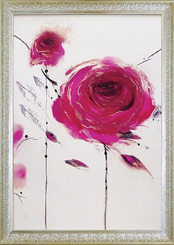 【代引不可】【お届け日時間指定不可】「オリエンタル ローズ2」マリリンロバートソン・花アートポスター[絵画通販]【壁掛けフック付き】【絵のある暮らし】