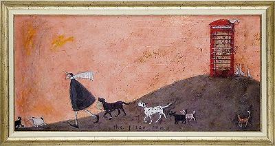 「ピザと走れ」サムトフト・可愛い雰囲気の特殊ゲル加工アート・犬・イヌ・いぬ[絵画通販]【壁掛けフック付き】【絵のある暮らし】