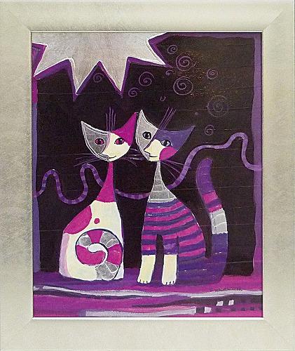 「ファミリア コンソール」ロジーナ 可愛い雰囲気の猫のアートポスター[絵画通販]絵 絵画 ネコ 猫 ねこ【壁掛けフック付き】【絵のある暮らし】