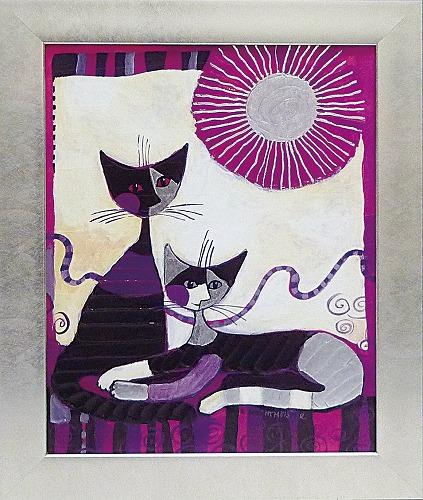 「ヴィータ デュエ」ロジーナ 可愛い雰囲気の猫のアートポスター[絵画通販]絵 絵画 ネコ 猫 ねこ【壁掛けフック付き】【絵のある暮らし】