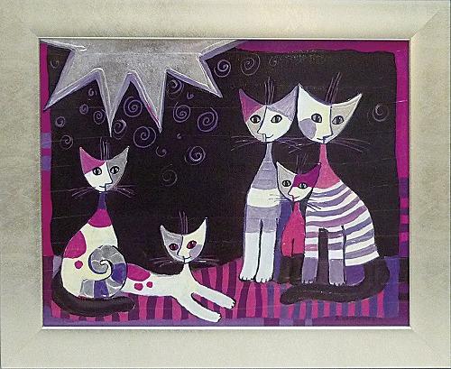 「エスクルシオーネ」ロジーナ 可愛い雰囲気の猫のアートポスター[絵画通販]絵 絵画 ネコ 猫 ねこ【壁掛けフック付き】【絵のある暮らし】