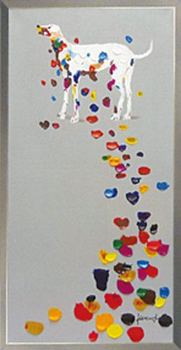 【代引き不可・お届けお時間指定不可】「カラフルペタル」犬・いぬ・イヌ・動物・油絵・ハンドメイド・オイルペイントモダンアート【絵のある暮らし】【壁掛けフック付き】