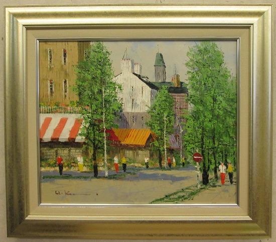 「並木路のある街」黒沢久(F8サイズ油彩画[油絵]・外国風景画(ヨーロッパ)・フランス、パリ風景[絵画通販]【壁掛けフック付き】【絵のある暮らし】