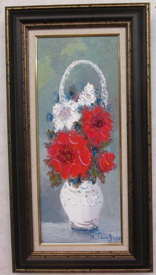 「バラ」(赤い薔薇)谷口春彦【通信販売】(WF3サイズ油彩画[油絵](直筆油彩画)花風水・開運風水画・静物画[絵画通販])【壁掛けフック付き】【絵のある暮らし】