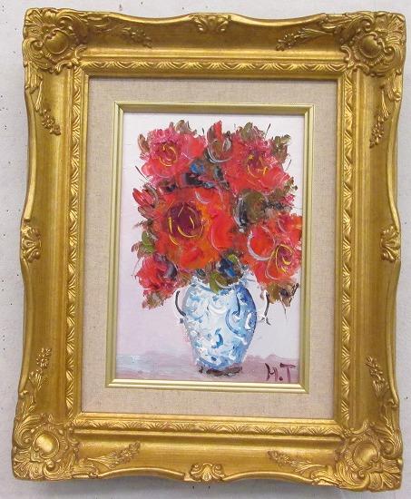 「バラ」(赤い薔薇)谷口春彦【通信販売】(サムホールサイズ油彩画[油絵](直筆油彩画)花風水・開運風水画・静物画[絵画通販])【壁掛けフック付き】【絵のある暮らし】