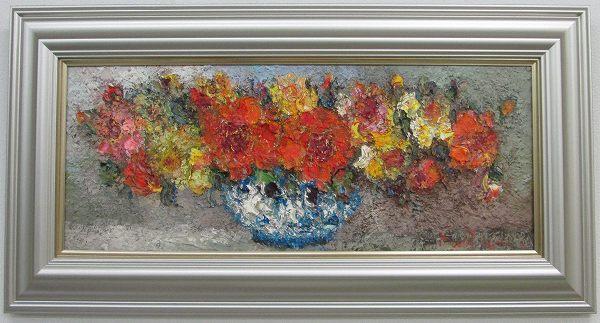 「薔薇」渡部ひでき(WF3サイズ油彩画[油絵](直筆油彩画)静物画・バラ[絵画通販])【絵のある暮らし】【壁掛けフック付き】