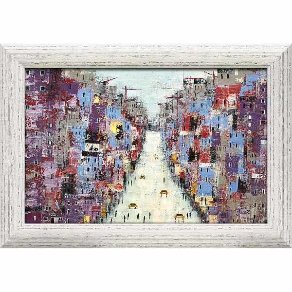 「ダウンタウン」リーマッカーシー【通信販売】特殊ゲル加工風景画アート[絵画通販]【壁掛けフック付き】【絵のある暮らし】イギリス 絵画