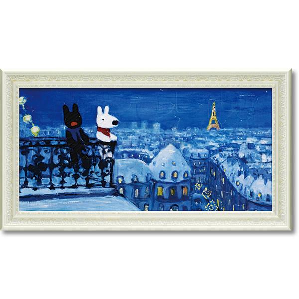 「パリの天窓から」リサとガスパール【通信販売】(こども・絵・特殊ゲル加工アート[絵画通販])【壁掛けフック付き】【絵のある暮らし】東京 東京タワー