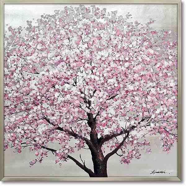 【代引き不可・お届けお時間指定不可】「シルバーサクラ」桜・さくら・サクラ・油絵・ハンドペイント・オイルペイントモダンアート[絵画通販]【絵のある暮らし】【壁掛けフック付き】