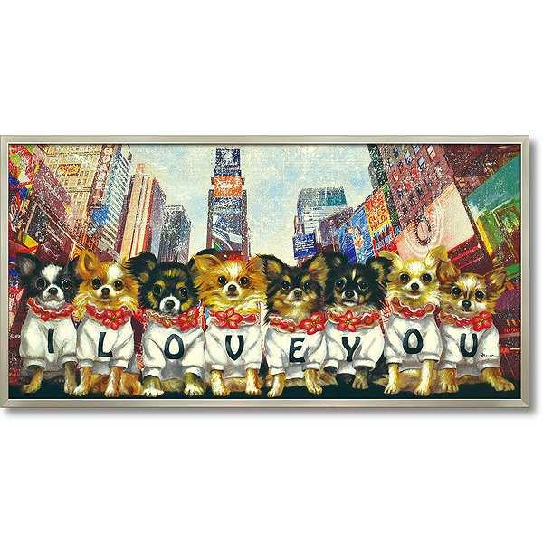 【代引き不可・お届けお時間指定不可】「アイラブユー」犬・いぬ・イヌ・油絵・ハンドメイド・オイルペイントモダンアート[絵画通販]【絵のある暮らし】【壁掛けフック付き】