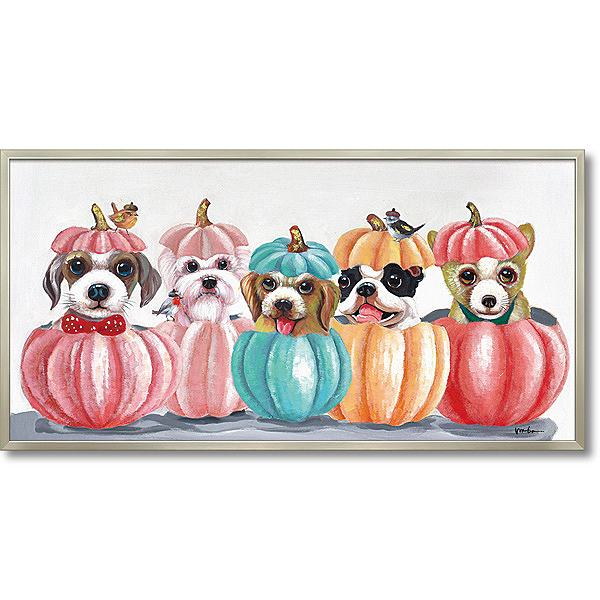 【代引き不可・お届けお時間指定不可】「ドッグアンドパンプキン」犬・いぬ・イヌ・油絵・ハンドメイド・オイルペイントモダンアート[絵画通販]【絵のある暮らし】【壁掛けフック付き】