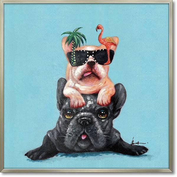 【代引き不可・お届けお時間指定不可】「ドッグオンドッグ」犬・いぬ・イヌ・油絵・ハンドペイント・オイルペイントモダンアート[絵画通販]【絵のある暮らし】【壁掛けフック付き】