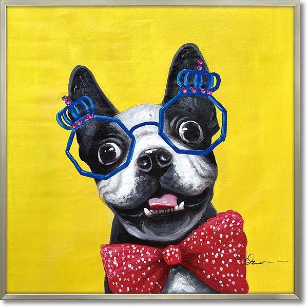 【代引き不可・お届けお時間指定不可】「コメディアンドッグ」犬・いぬ・イヌ・油絵・ハンドペイント・オイルペイントモダンアート[絵画通販]【絵のある暮らし】【壁掛けフック付き】