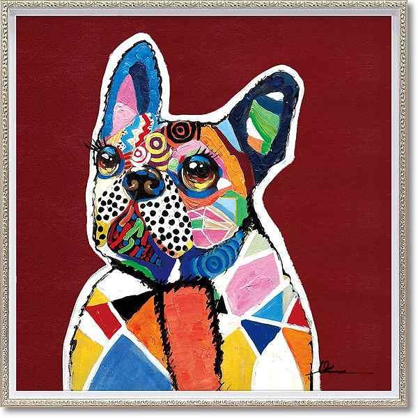 「イノセントドッグ」Mサイズ ・油絵・ハンドペイント・イヌ・いぬ・犬・オイルペイントモダンアート[絵画通販]【絵のある暮らし】【壁掛けフック付き】