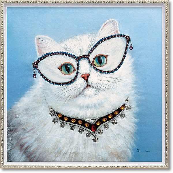 「プレシャスキャット」Mサイズ ・油絵・ハンドペイント・ねこ・ネコ・猫・オイルペイントモダンアート[絵画通販]【絵のある暮らし】【壁掛けフック付き】